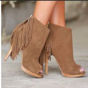 Naughty Monkey Suede Fringe Healed Booties